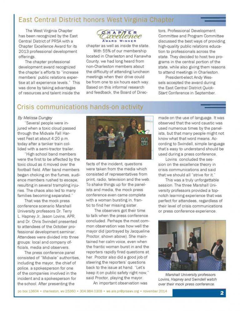 PRSA WV Newsletter Article